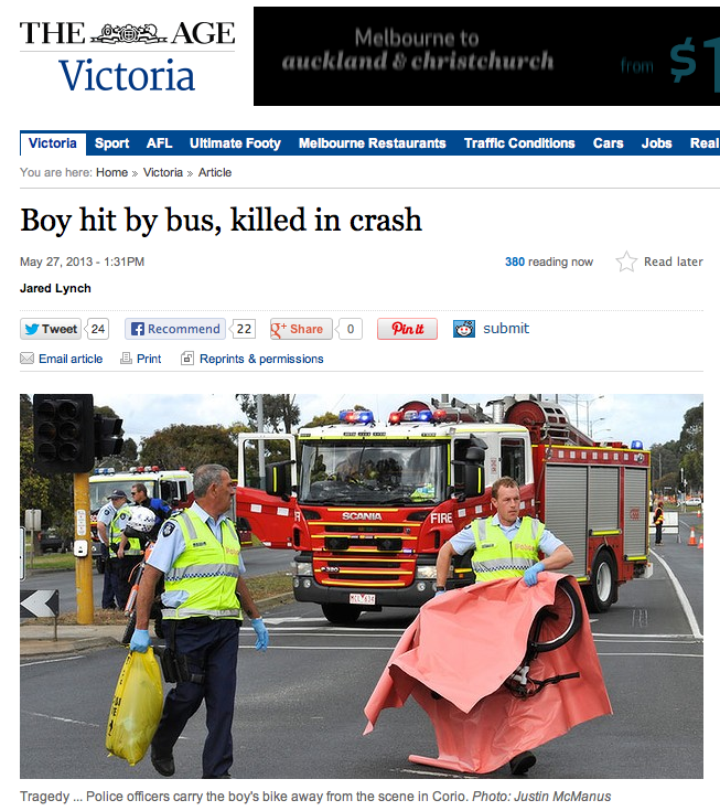 The Age: 11-year-old cyclist hit by bus