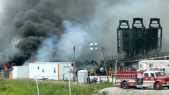 Fire at a gas mining station in Ohio, USA. Photo: courtesy of EMA
