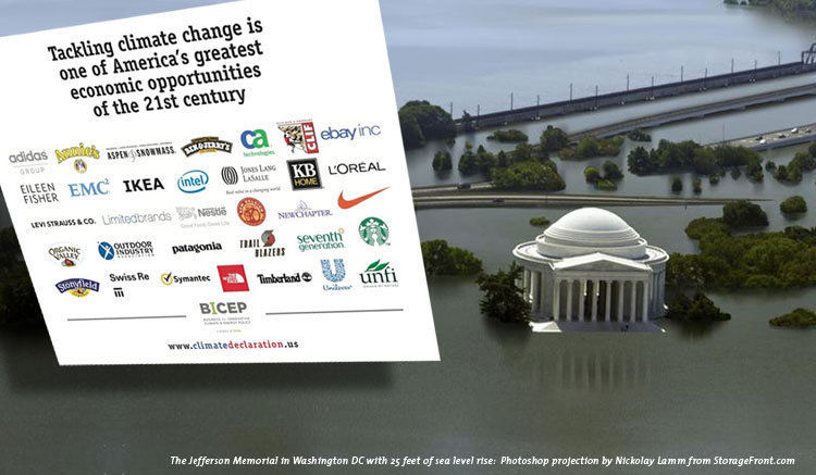 The Jefferson Memorial in Washington DC with 25 feet of sea level rise. Photoshop projection by Nickolay Lamm from StorageFront.com
