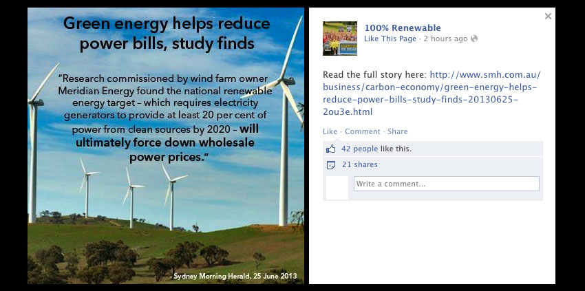 green energy Facebook post