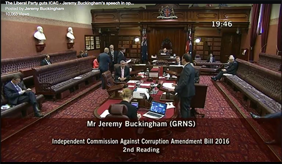 Jerry Buckinghams anti-corruption speech